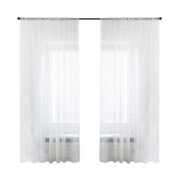 Romantic Geometric Voile Curtain Panel Sheer Scarf Valances White and gold,140x260cm