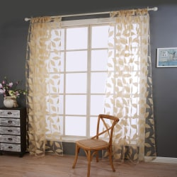 Sheer Stylish Voile Curtains Living Room Bedroom Decor Beige,100x200cm