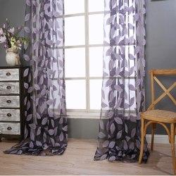 Sheer Stylish Voile Curtains Living Room Bedroom Decor Light Purple,100x200cm