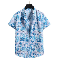 Short-Sleeved Shirt Button Top With Floral Print For Men Blue,L