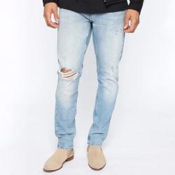 Straight-Cut Men Jeans Easy Torn Leisure Trousers Pants Blue,L
