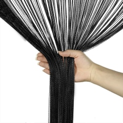 Straight Tassel Curtain Room Divider Home Decoration Black,100x200cm