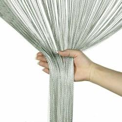 Straight Tassel Curtain Room Divider Home Decoration Silver Grey,100x200cm