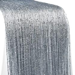 String Door Curtain Beads Room Divider Crystal Tassel Silver gray,100x200cm