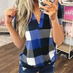 Super Value-Women-T Shirt&Pullover&Blouse&Tops-V Neck&Plaid Blue,XXL