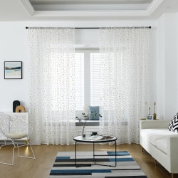 Triangle Tulle Window Curtain Drape Panel Sheer Home Decor White and gold,140x260cm