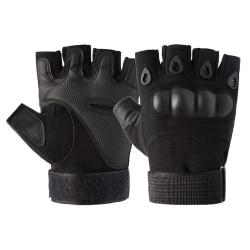 Unisex Half Finger Tactical Gloves Hard Knuckle Combat Hunting Black M