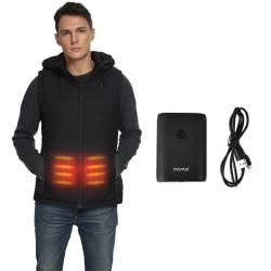 Unisex Lightweight Electric Warm Jacket USB Heated Vest Coat Black,XL