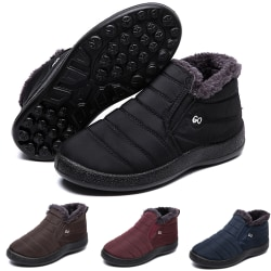 Unisex Waterproof Winter Snow Ankle Boots Fur-lined Slip On Black,42