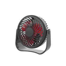 USB Rechargeable Desk Fan Air Cooler 360 Degree Portable black