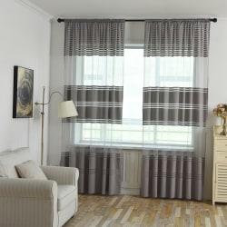 Warp Wide Striped Voile Net Curtain Single Panel Gray,100x270cm