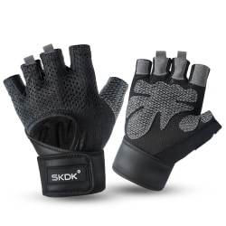 Weight Half Finger Lifting Gloves Fitness Gym Breathable + Strap black,M