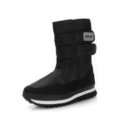 Women and Men Waterproof Plush Lined Winter Snow Casual Booties Black,39