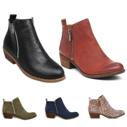 Women Ankle Boot Thick High-Heeled Boot Casual Shoes Spring Fall Reddish Brown PU,40
