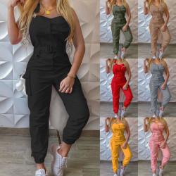 Women Belted Jumpsuits Playsuit Summer Cargo Pocket Romper Pants Black,L