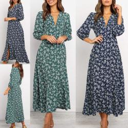 Women Bohemian Floral Dress V Neck Beach Skirt Summer Dress Dark blue,L