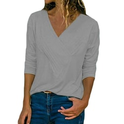 Women Casual Solid Color Long Sleeve V-Neck T-Shirt Top Pullover Gray,XXL