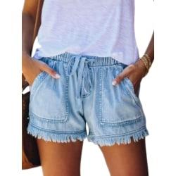 Women Casual Tassels Street Wide Leg Shorts Hot Pants Jeans Light Blue,S