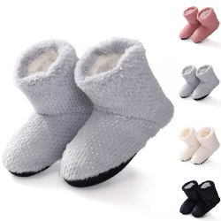 Women Cotton Slipper Ankle Boots Non-Slip Warm Indoor Home Shoes White,38-41