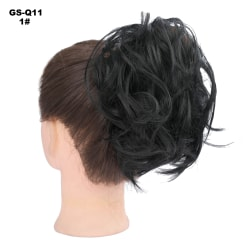 Women Curly Wavy Messy Bun Hair Piece Clip In Hair Extensions 1#