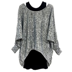 Women Fashion Two-piece Long Sleeve T-Shirt Top Ladies Suit Gray,L