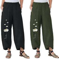 Women Floral Printed Boho Pants Casual Loose Wide Leg Trousers Black