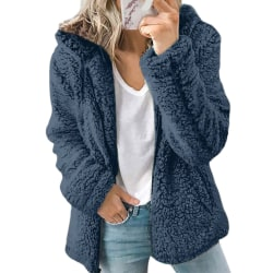 Women fluffy hoodie ladies fleece zipper hoodie jacket top Blue,3XL