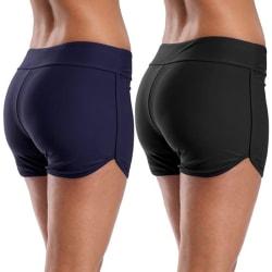 Women High Waist Swim Boyshorts Bikini Bottom Tankini Shorts Black,L