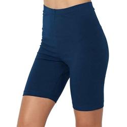 Women High Waist Yoga Pants Shorts Gym Fitness Running Leggings Denim Blue,XL