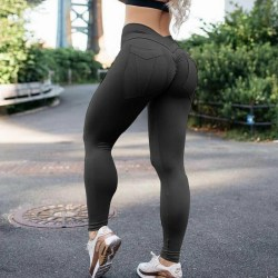 Women High Waisted Yoga Leggings Sports Push Up Pants Running Black,M