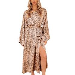 Women Kimono Robes Cardigan Sleep Gown Nightwear Pajamas Lace Up Leopard Print,M