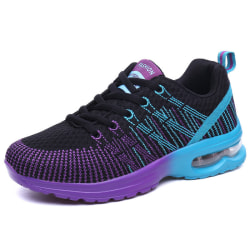 Women's Air Cushion Mesh Sneakers Running Breathable Sport Shoes Black Purple,40