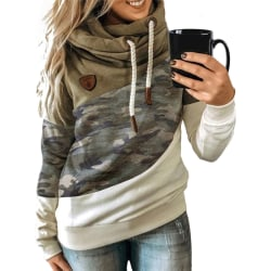 Women's Camouflage Hooded Sweater Long Sleeve Casual Top Khaki,M