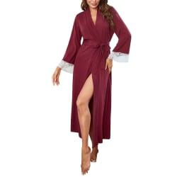 Women's Cardigan Robe Sleep Gown Nightdress Pajamas With Belt Claret,M