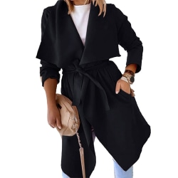 Women's casual long-sleeved trench coat coat coat tops Black,XXL