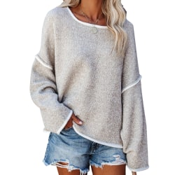 Women's casual loose solid color knitted sweater top pullover khaki,XL