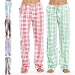 Women's Casual Plaid Printed Pajama Trousers Sleepwear Homewear Gray,S