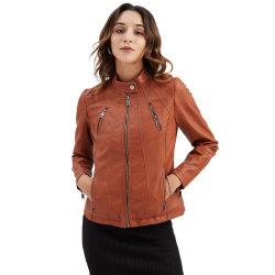 Women's Casual PU Leather Jacket Windproof Motorcycle Zip Jacket maroon,S