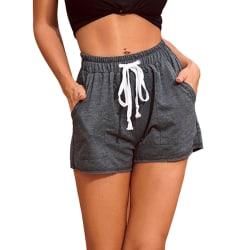 Women's Casual Shorts Elastic Waist Fitness Pockets Hot Pants Dark Gray,L