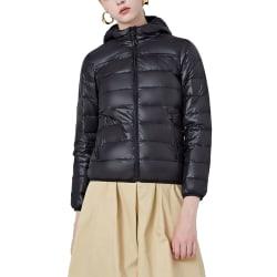 Women's duck down jacket hooded jacket keeps warm in winter Black,L