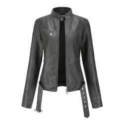 Women's Fashion PU Leather Jacket Short Coat Top Black Gray,M