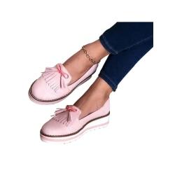 Women's Fashion Tassel Pendant Tendon Sole Casual Shoes pink,40