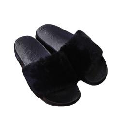 Women's Faux Plush Slippers Sandals Slides Flat Shoes Open Toe Black,40