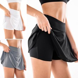 Women'S High-Waist Anti-Glare Skirt Pants Exercise Fitness Black,L
