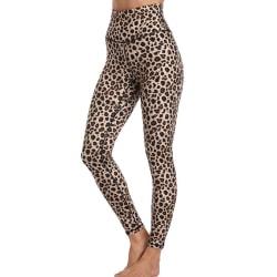 Women's High Waist Seamless Tights High Stretch Yoga Pants Leopard Yellow,S
