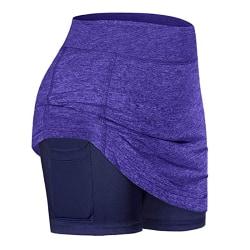 Women's high waist workout tennis yoga mini skirt purple,L