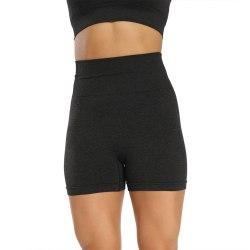 Women's High Waist Yoga Shorts Fitness Compression Hot Pants black,M