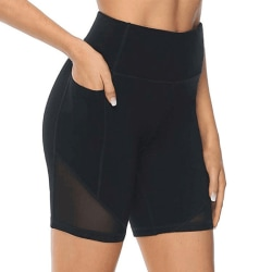 Women's High Waist Yoga Shorts Skinny Workout Side Pouch black,S