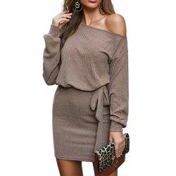 Women's Knitted One Shoulder Long Sleeve Mini Dress Casual Dress khaki,XL