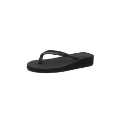 Women's Korean style thin strap slippers mid-heel flip-flops black,40